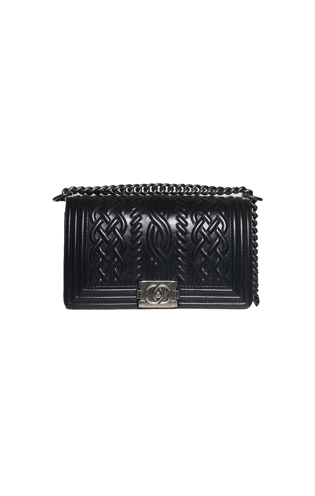 Front view of CHANEL  Black Boy Bag Size: 10 in. x 5.5 in. x 3.5 in.