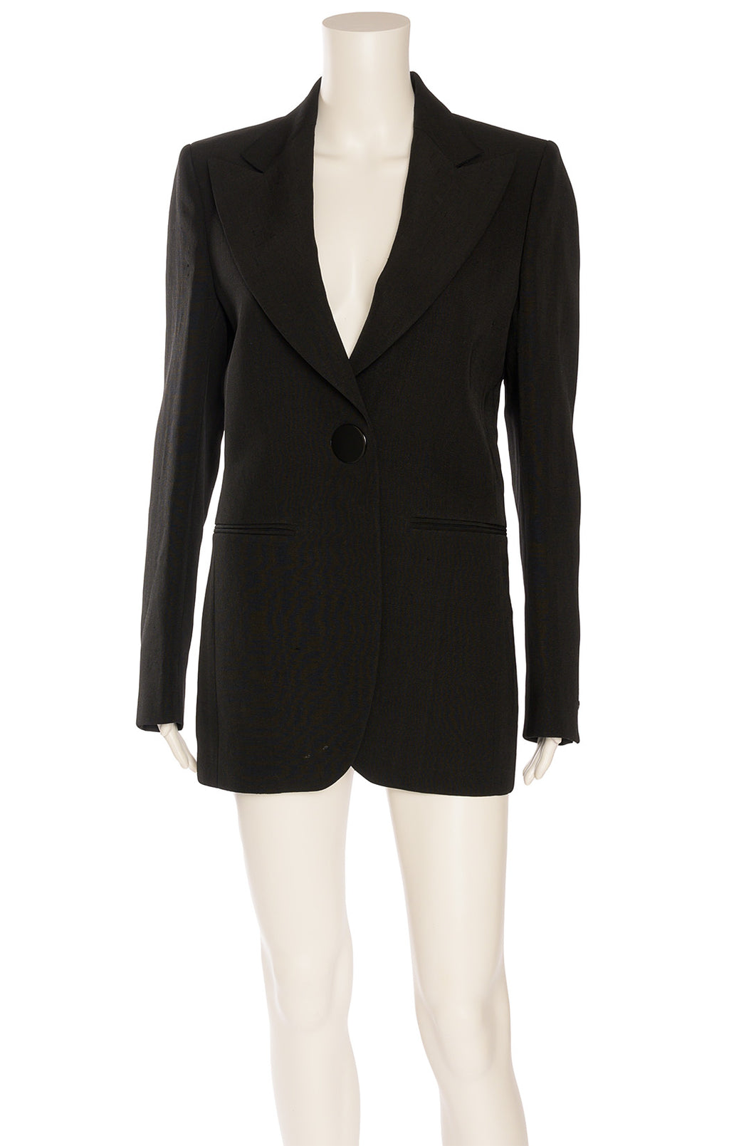 Black long sleeve one button front snap closure blazer with slit front pockets