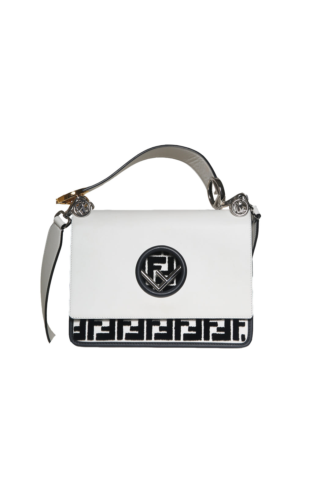 Front view of FENDI  Logo Handbag Size: 10 in. x 7 in. x 4 in.