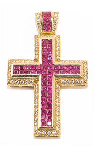 "Front view of NO NAME Diamond and ruby cross Size: 2 1/2 "" H x 1 1/2"" W x 1/4"" D"