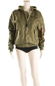 Front view of ALPHA INDUSTRIES  Bomber jacket Size: Small
