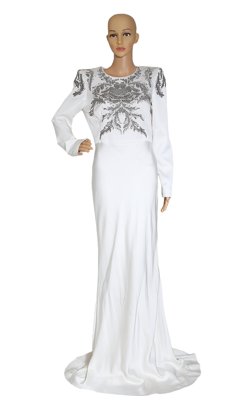 Front view of ALEXANDER McQUEEN Long White Beaded Dress Size IT 44 (US 8)