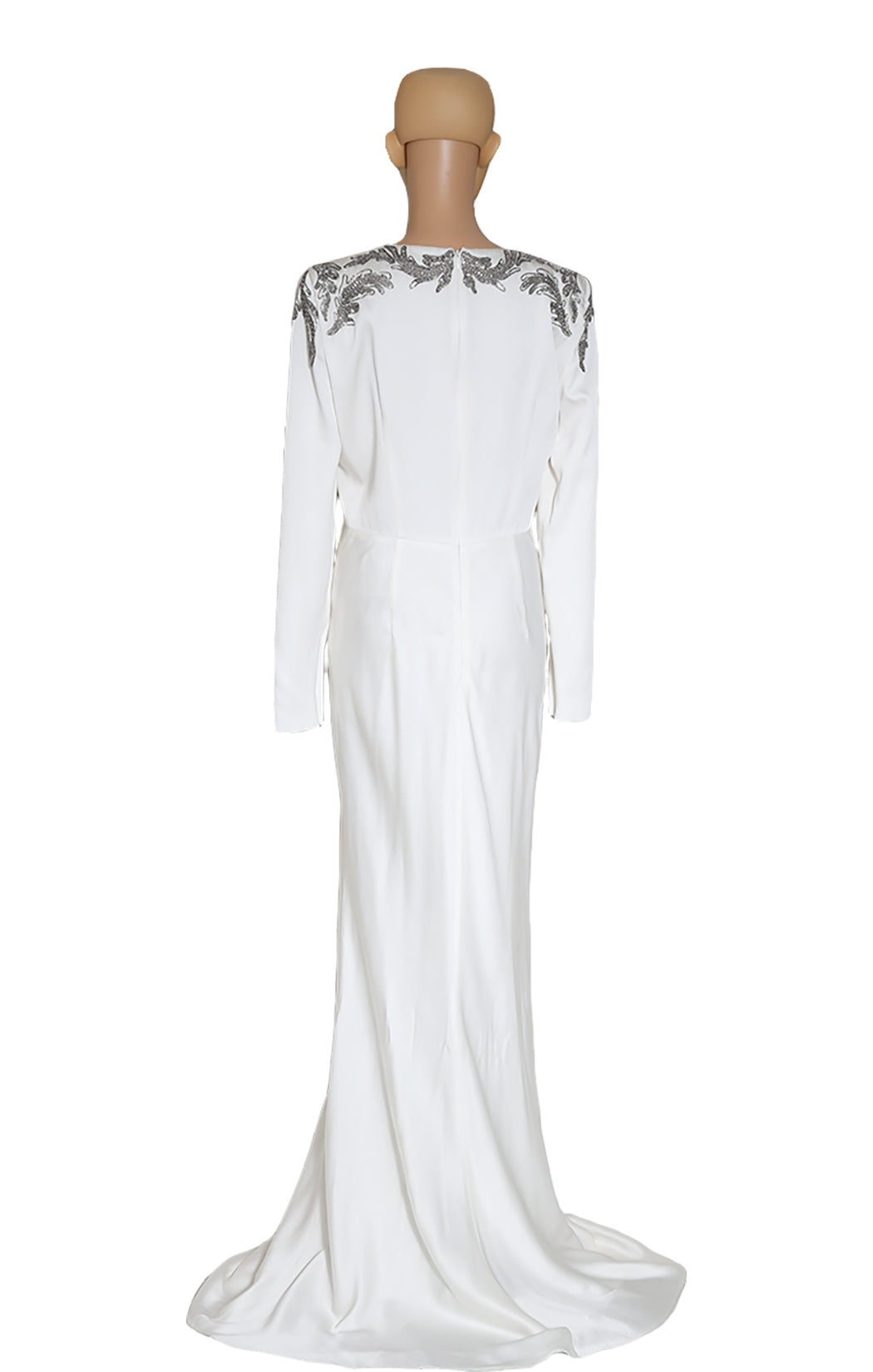 Back view of ALEXANDER McQUEEN Long White Beaded Dress
