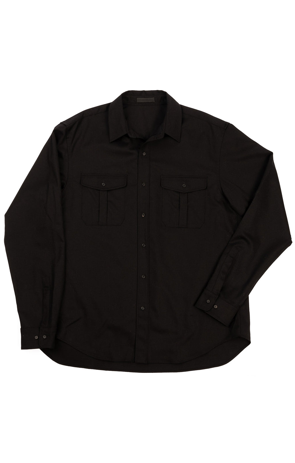 Black long sleeve button down shirt with two front pockets