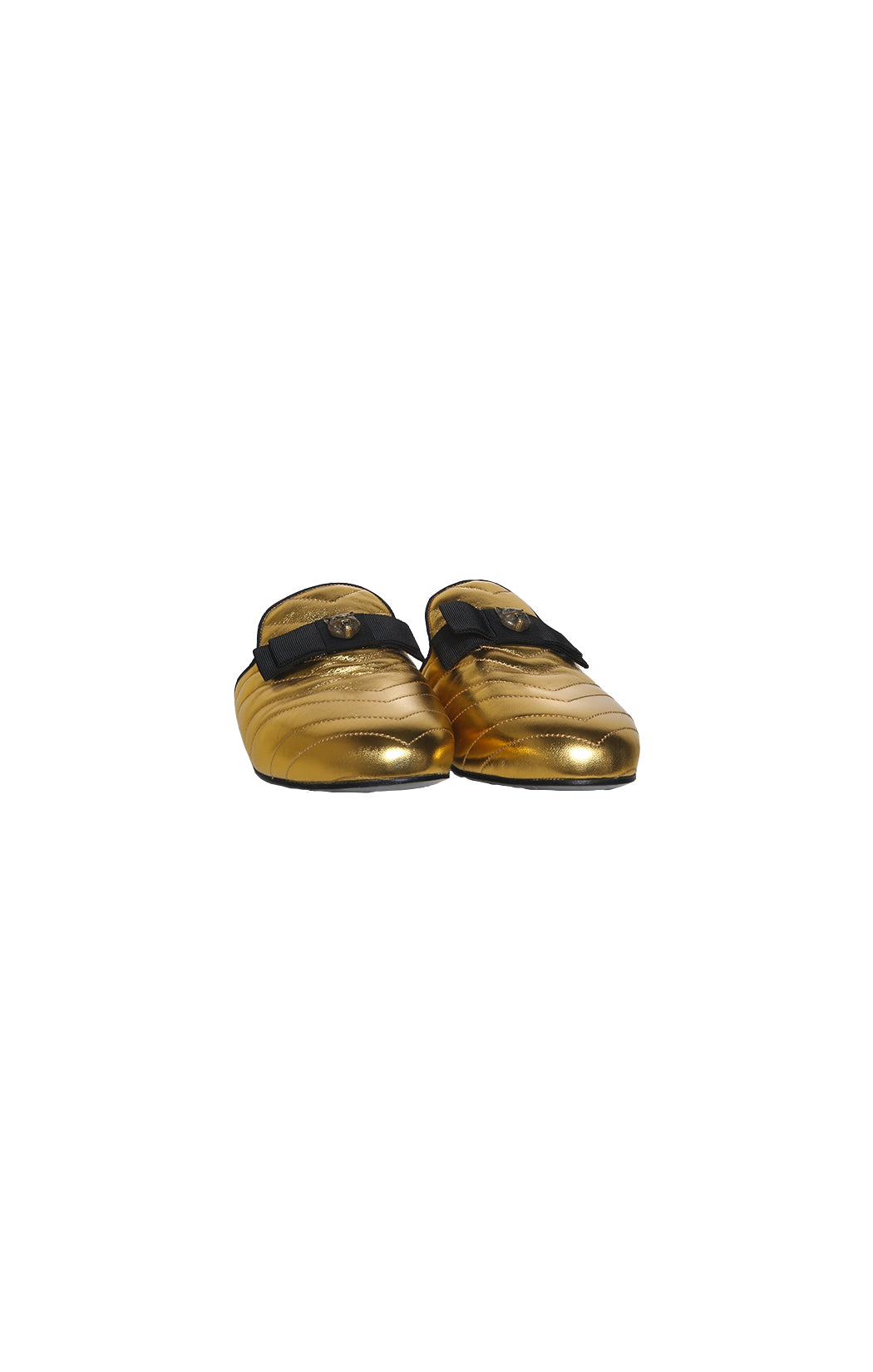 Front view of GUCCI  Gold Mule Size: 39 (US 9)