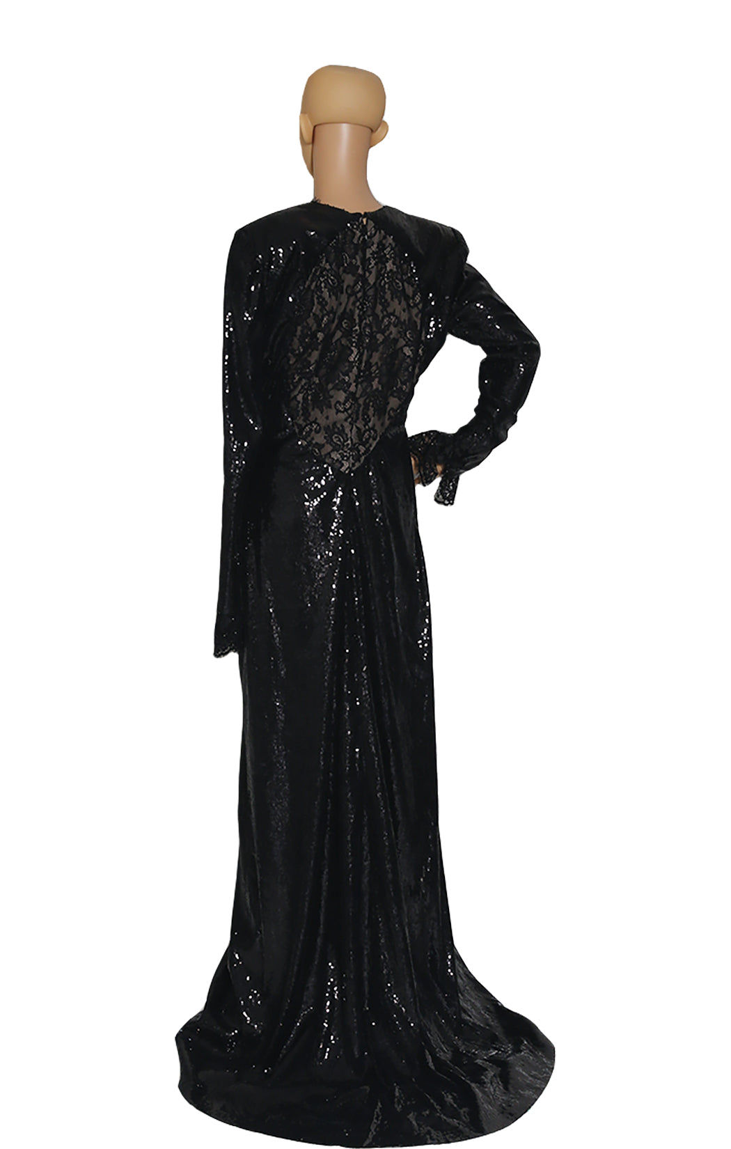 Back view of PETER DUNDAS Black Lace Beaded Long Dress