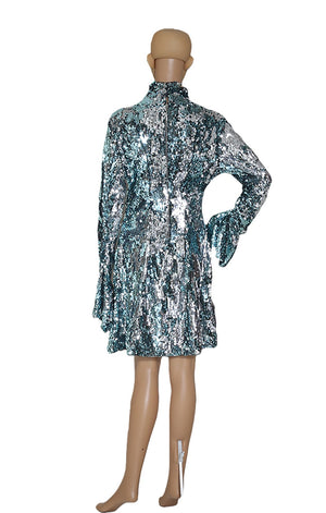 Back View of HALPERN Ice Blue Sequined Dress