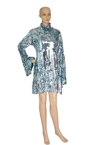 Front View of HALPERN Ice Blue Sequined Dress