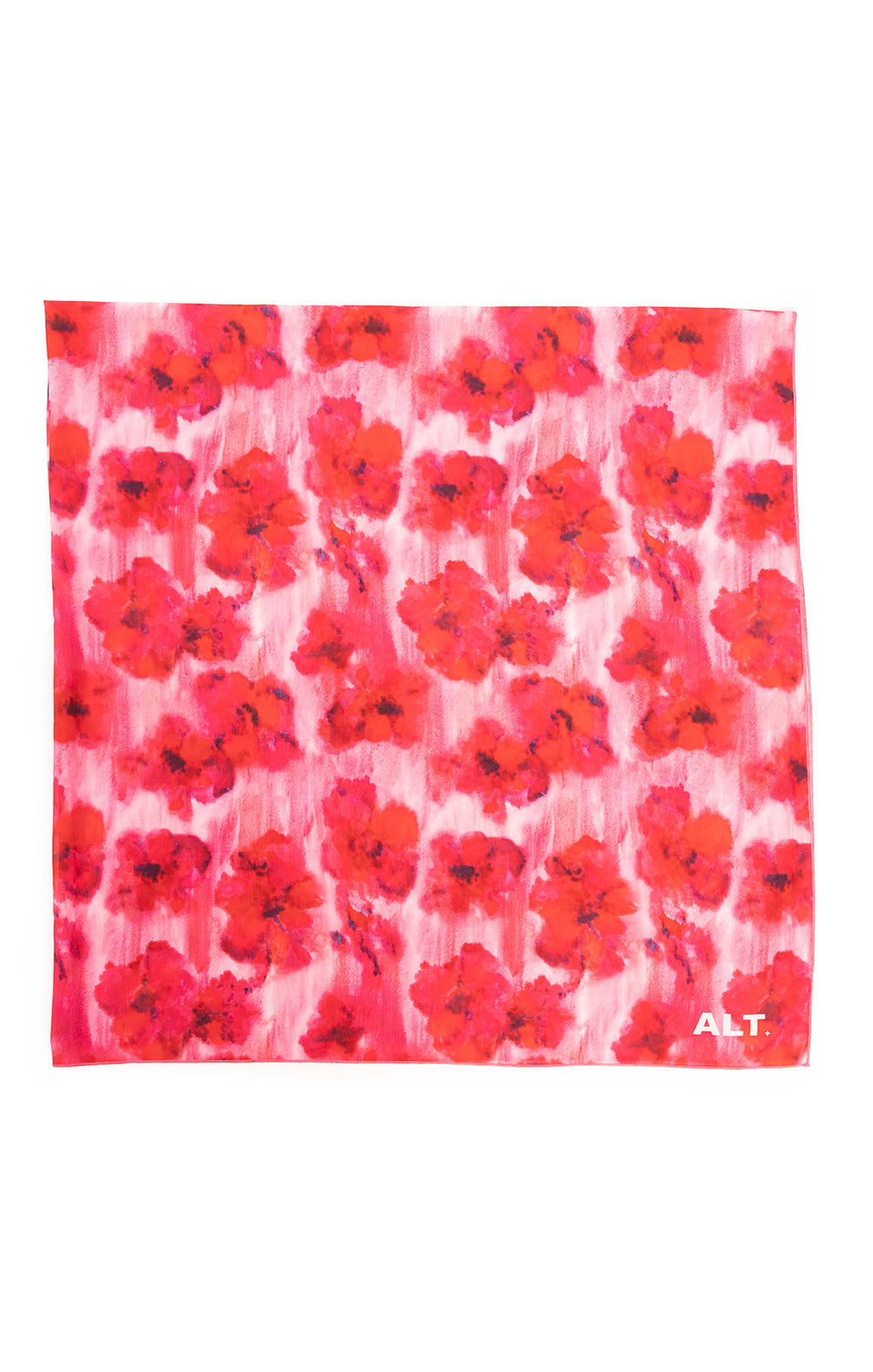 Pink and red floral large scarf