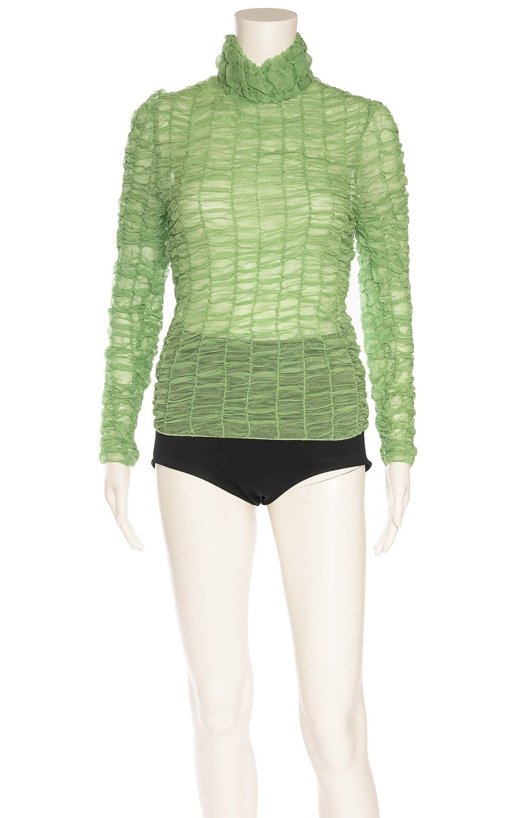 Green smock like long sleeve top With high neck and back top zipper