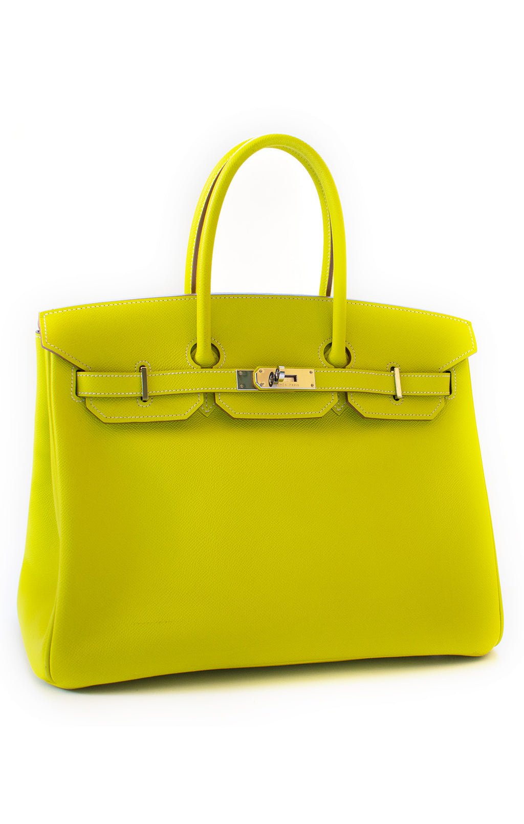 "Front view of HERMES Birkin 35 Handbag Size: Height 10"", Width 14"", Depth 7.5"", Handle Drop 4"""