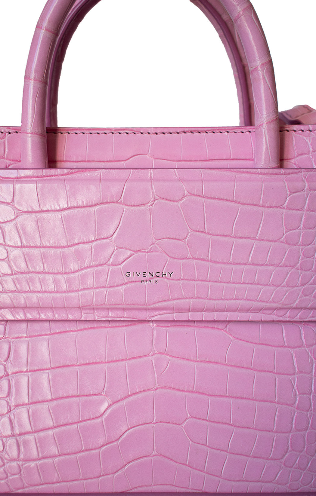 Closeup view of GIVENCHY Alligator Mini Horizon Handbag