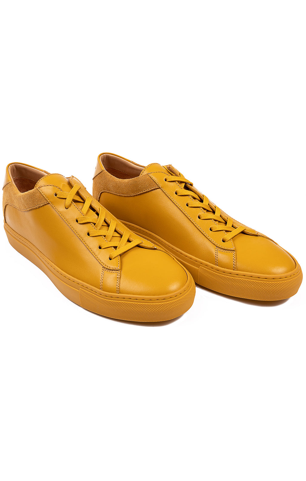 Mustard yellow leather lace ups