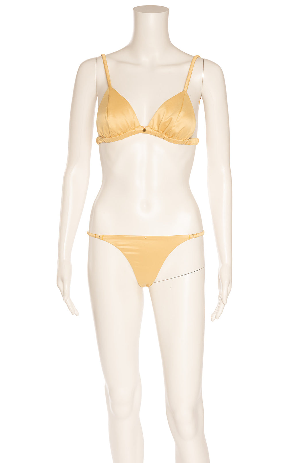 Gold tone bikini and matching shorts