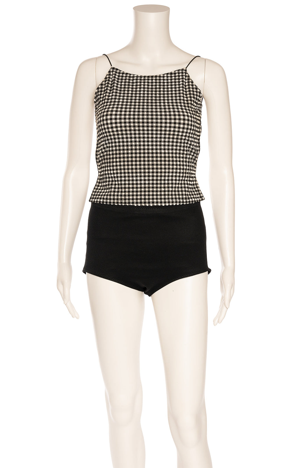 Black and white check backless top
