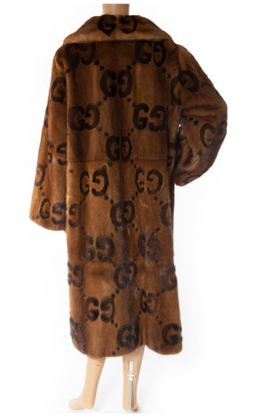 Back view of GUCCI  Mink Logo coat: Collectors item