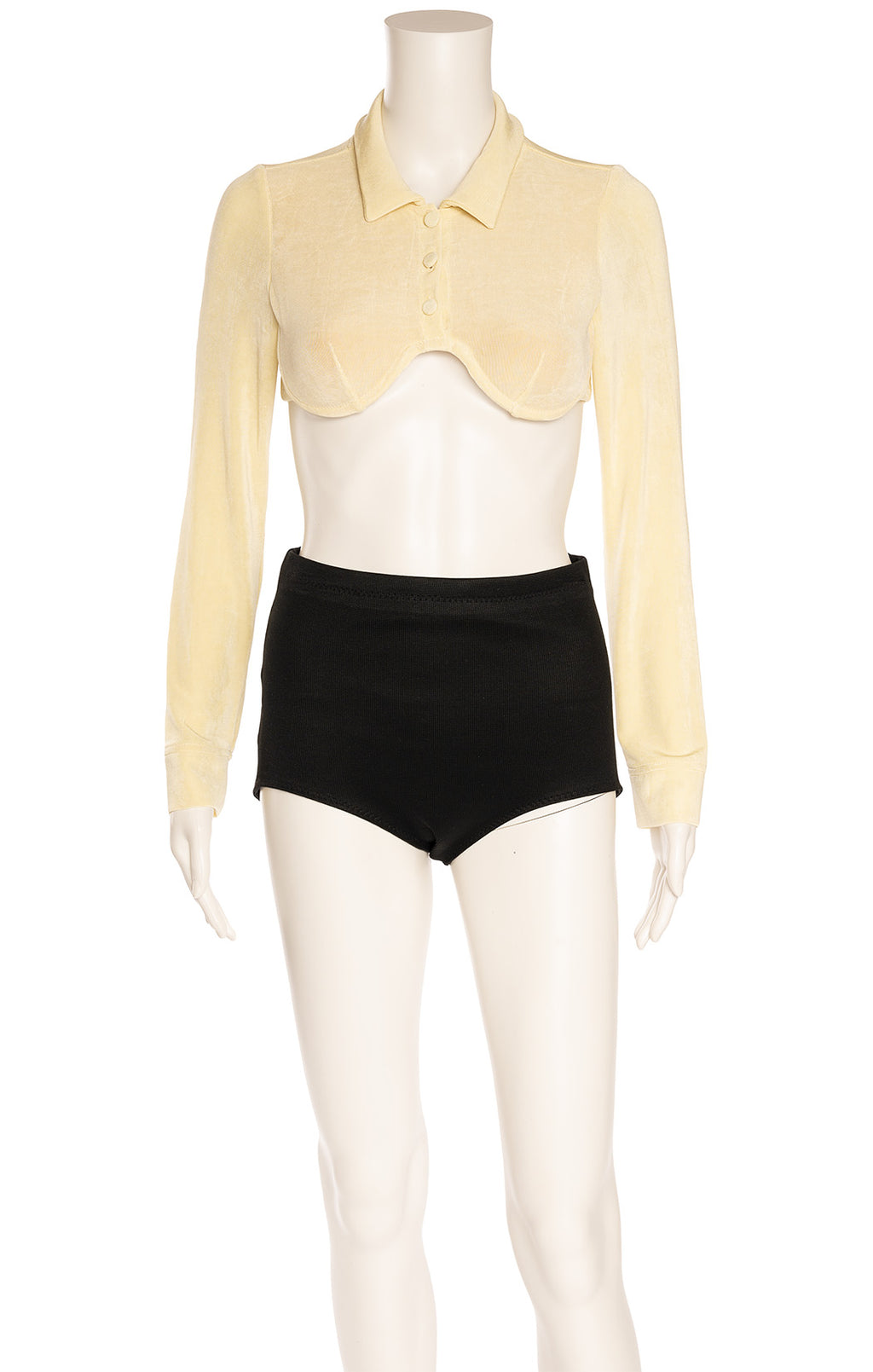 Light yellow long sleeve wire bra crop top