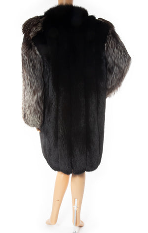 Back view of YVES ST LAURENT Vintage Fox fur coat