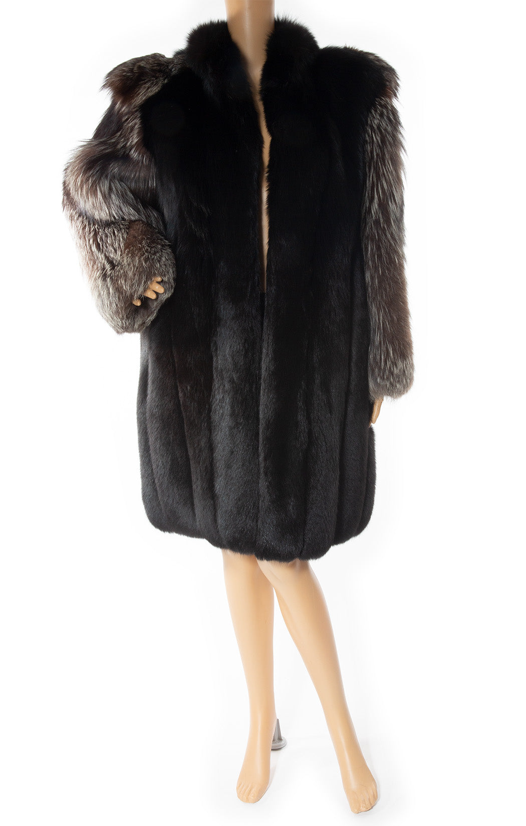 Front view of YVES ST LAURENT Vintage Fox fur coat Size: No tags fits like size 8