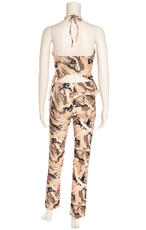 Multi colored brown and beige Cabo print pant and matching halter top