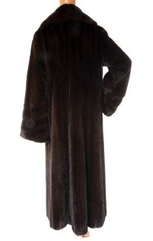 Back view of ZANDRA RHODES Mink long coat