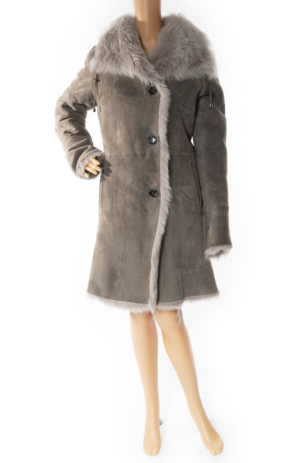Front view of BONNIE w/tags Shearling coat Size: Medium