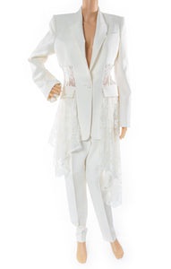 Front view of ALEXANDER MCQUEEN  Pantsuit Size: Jacket IT 44 (comparable to US 8) Pant IT 46 (comparable to US 10)