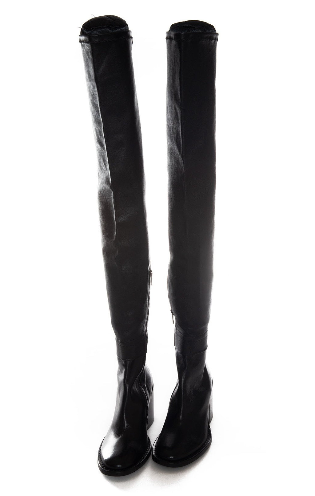 Front view of ANN DEMEULEMEESTER Over the knee boots Size: 8.5