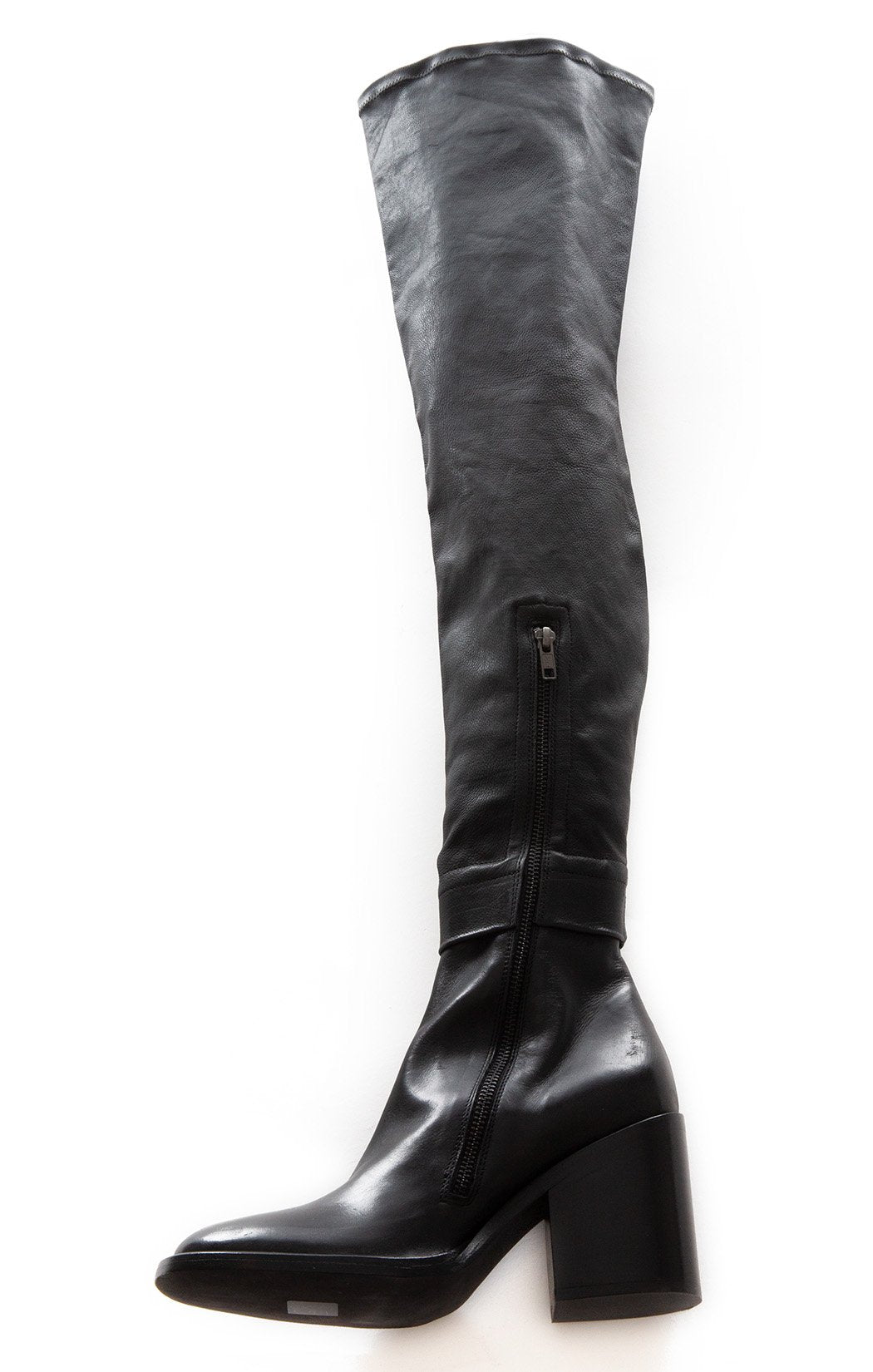Side view of ANN DEMEULEMEESTER Over the knee boots