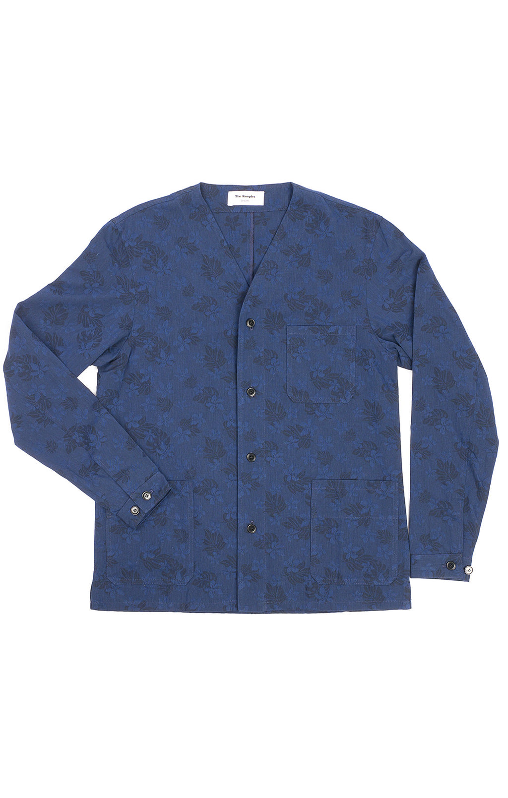 Navy blue brocade like fabric button down, v neck long sleeve shirt/jacket with front patch pockets