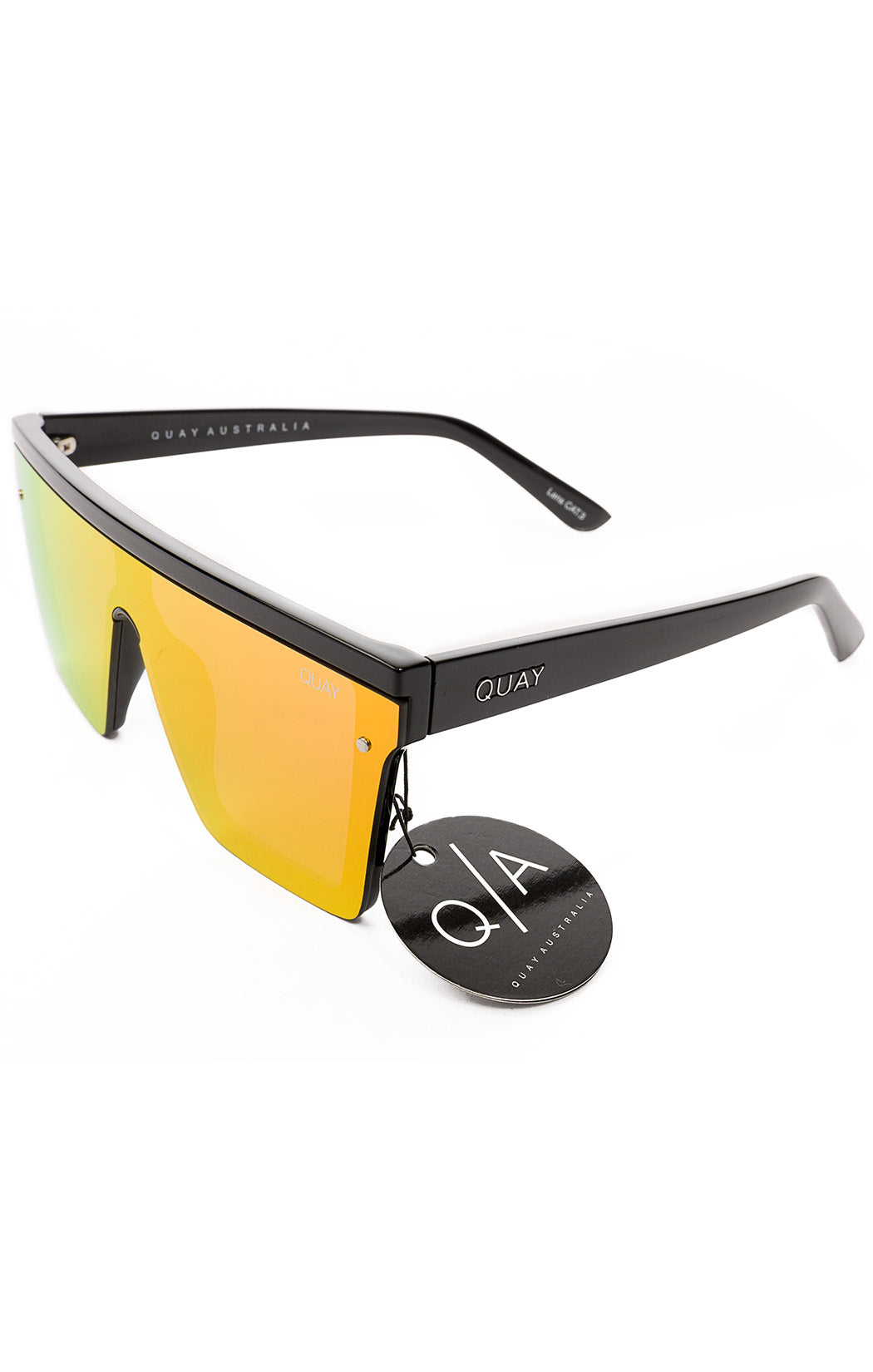Side view of QUAY with tags Sunglasses