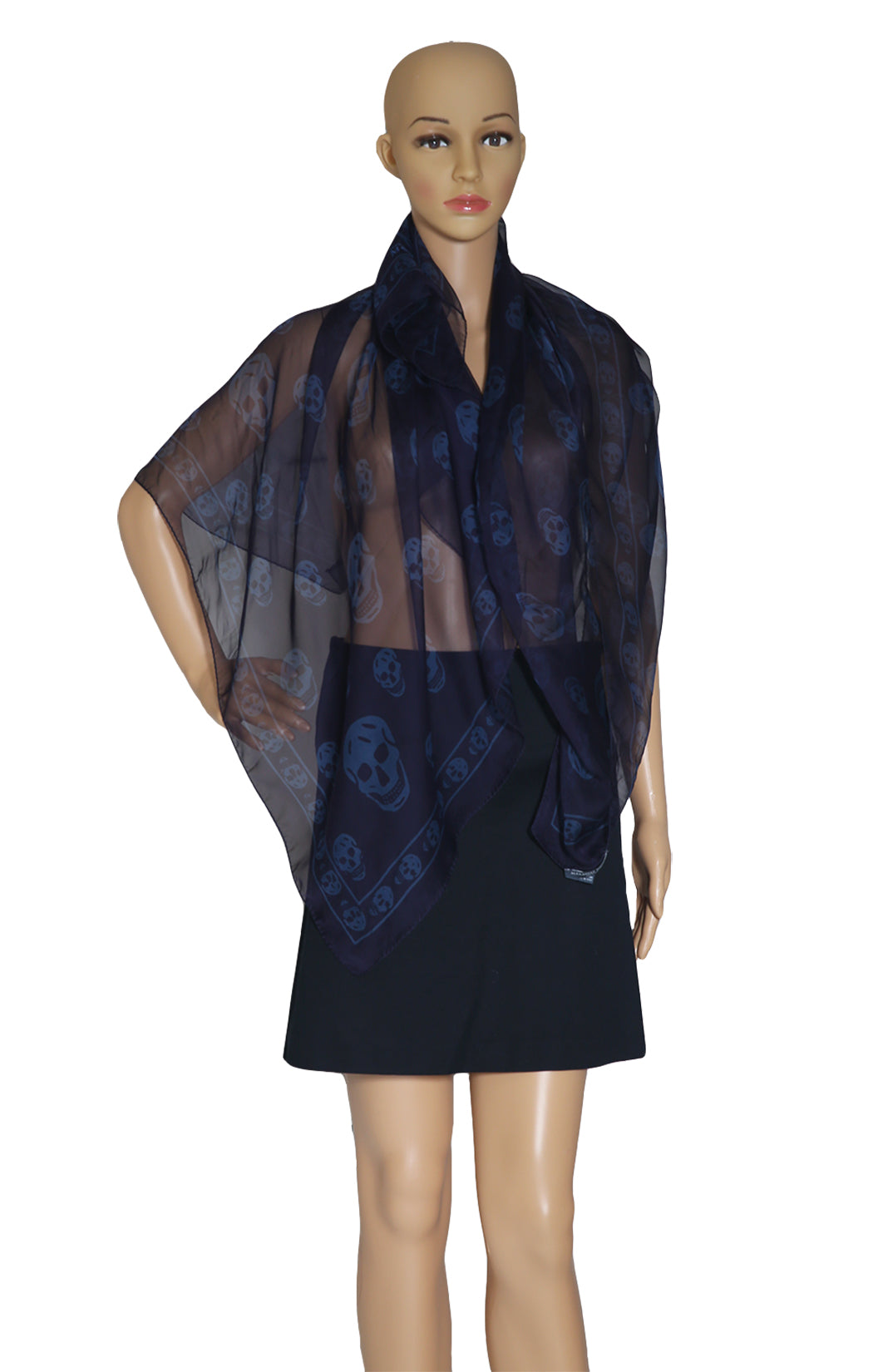 Front view of ALEXANDER McQUEEN  Navy Scarf with Blue Skulls