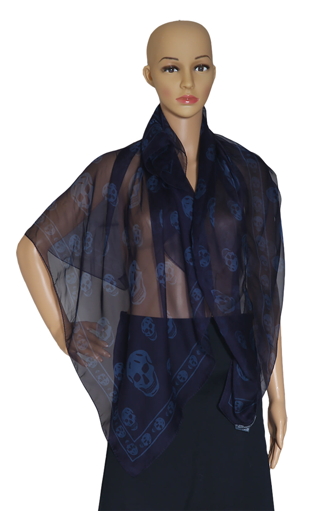 Closeup of ALEXANDER McQUEEN  Navy Scarf with Blue Skulls