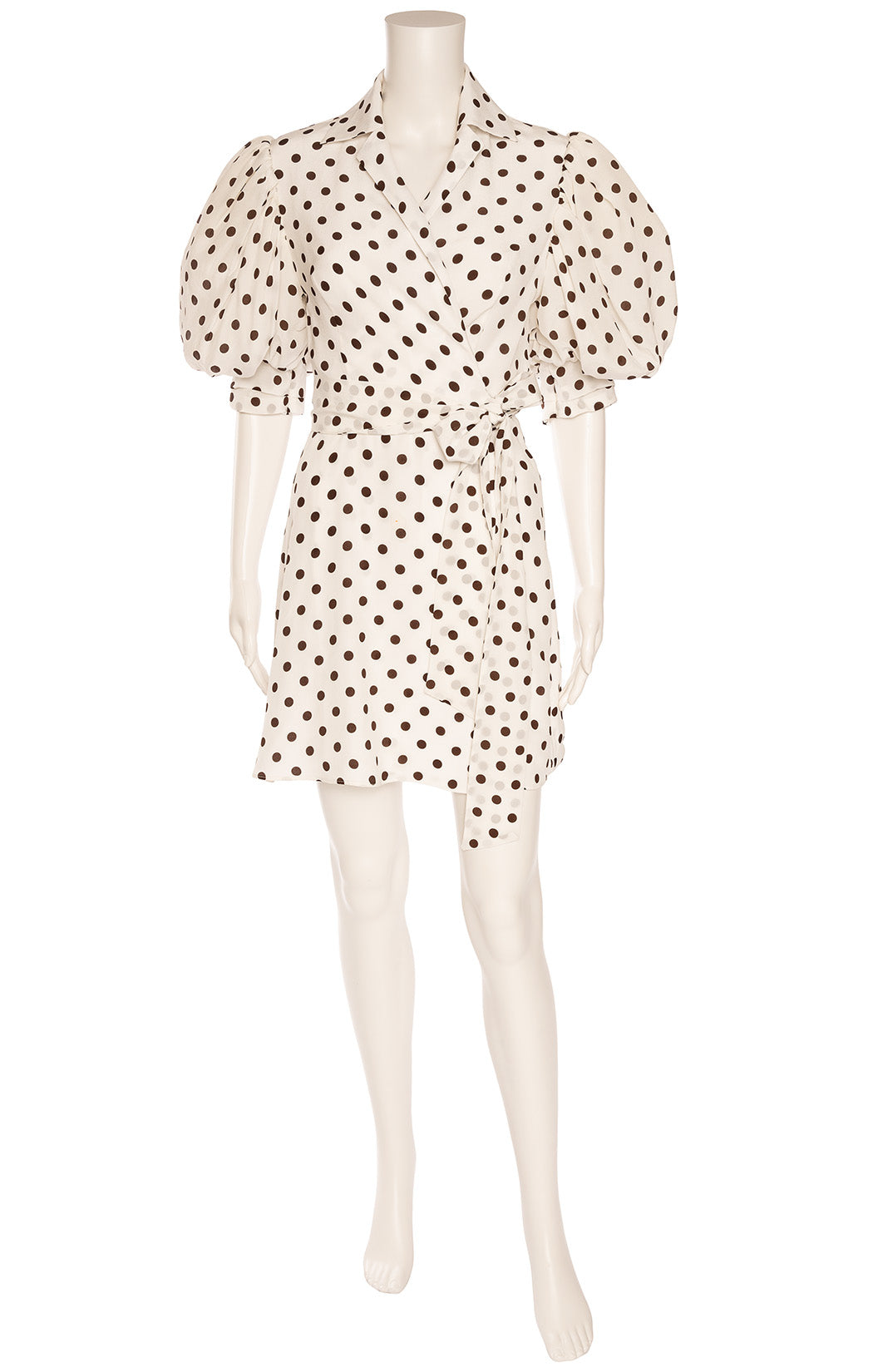 White with black polka dot puffy sleeve wrap dress
