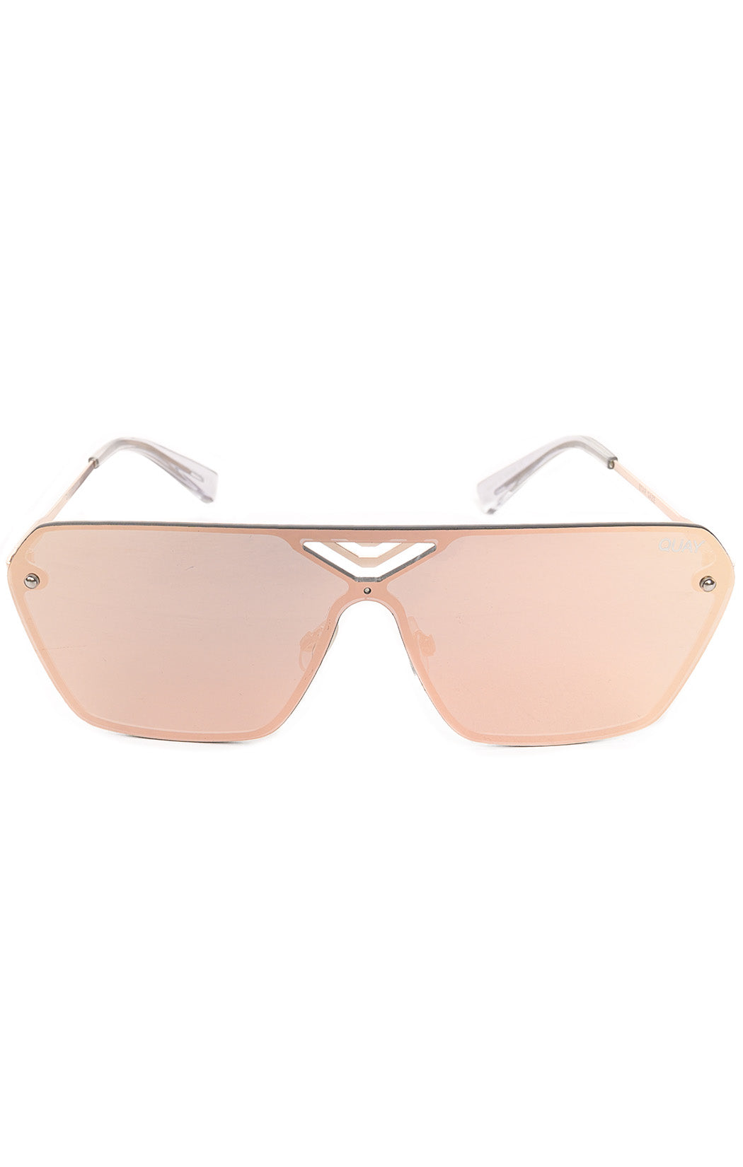 "Front view of QUAY Sunglasses  Size: 6"" W x 2"" H"