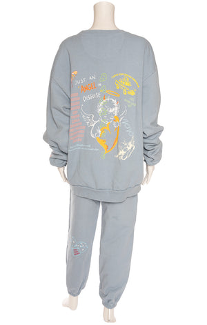Muted blue with multi colored graphics matching sweat outfit