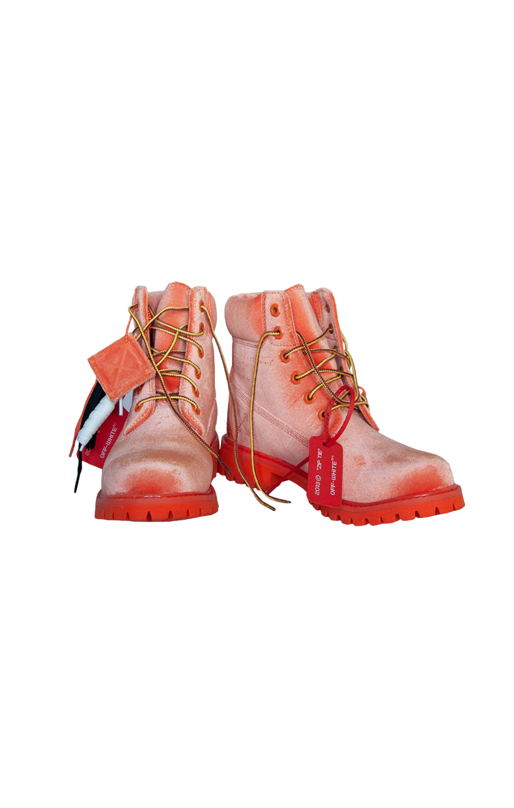 Front view of TIMBERLAND X OFF WHITE Boots Size: US 8