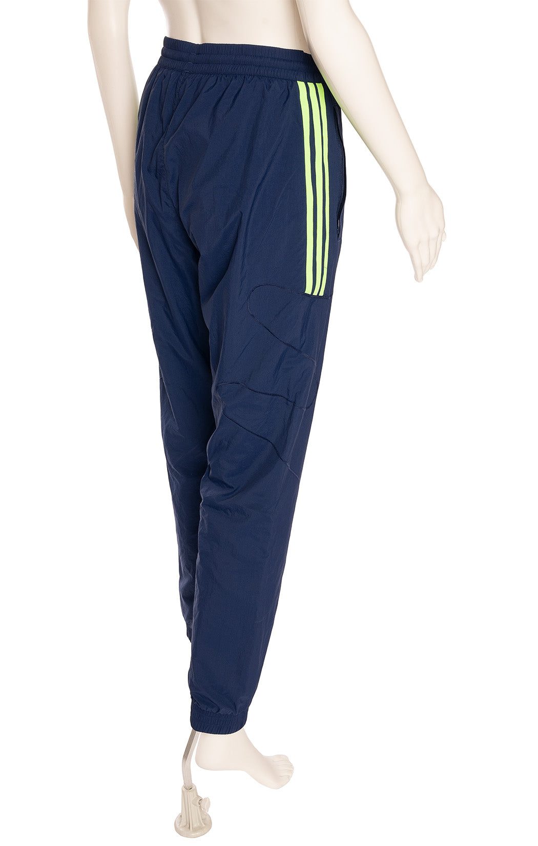 Navy blue with green stripe nylon track pant