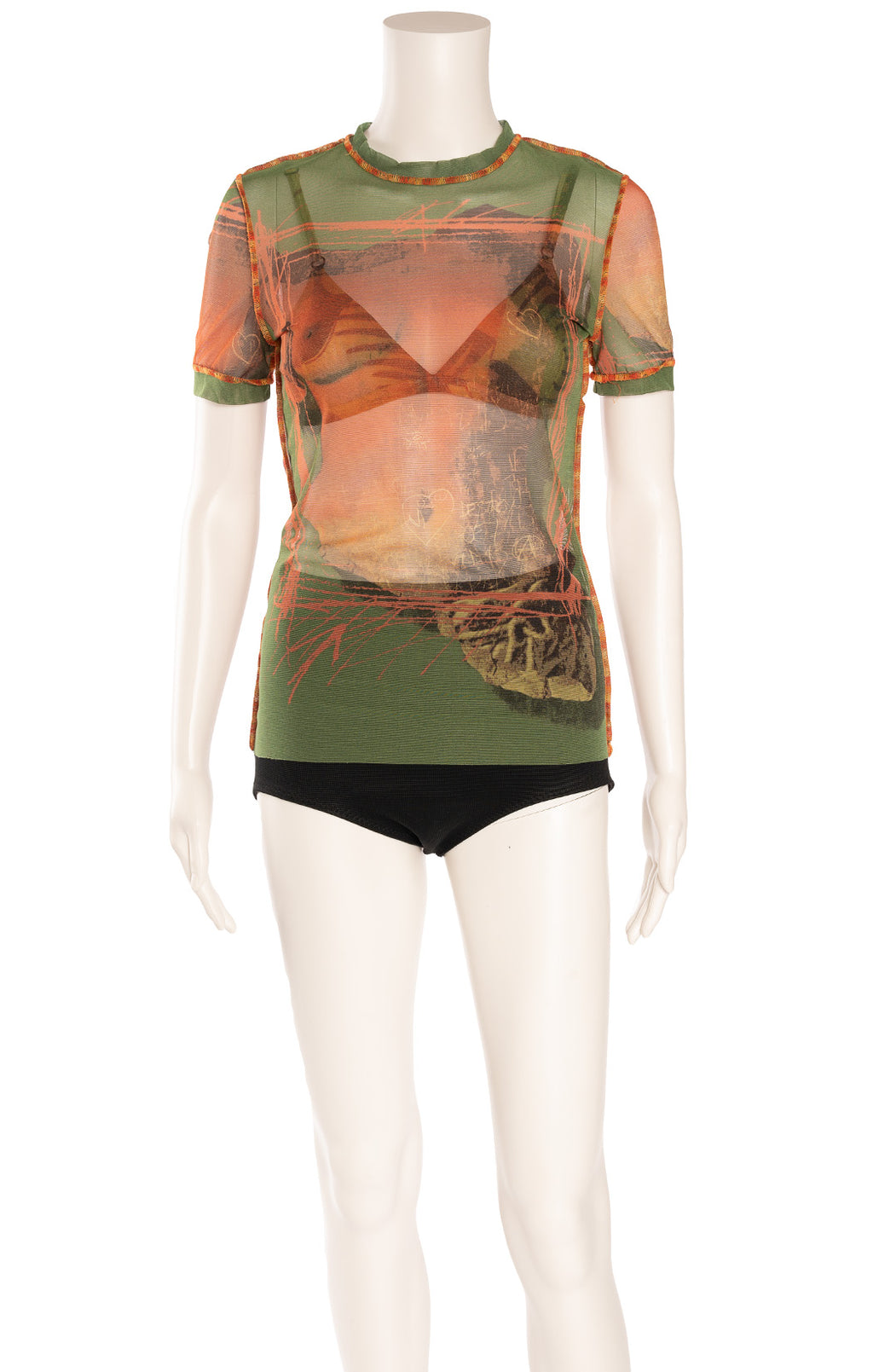 Brown and green multi colored print design sheer like top with matching bra