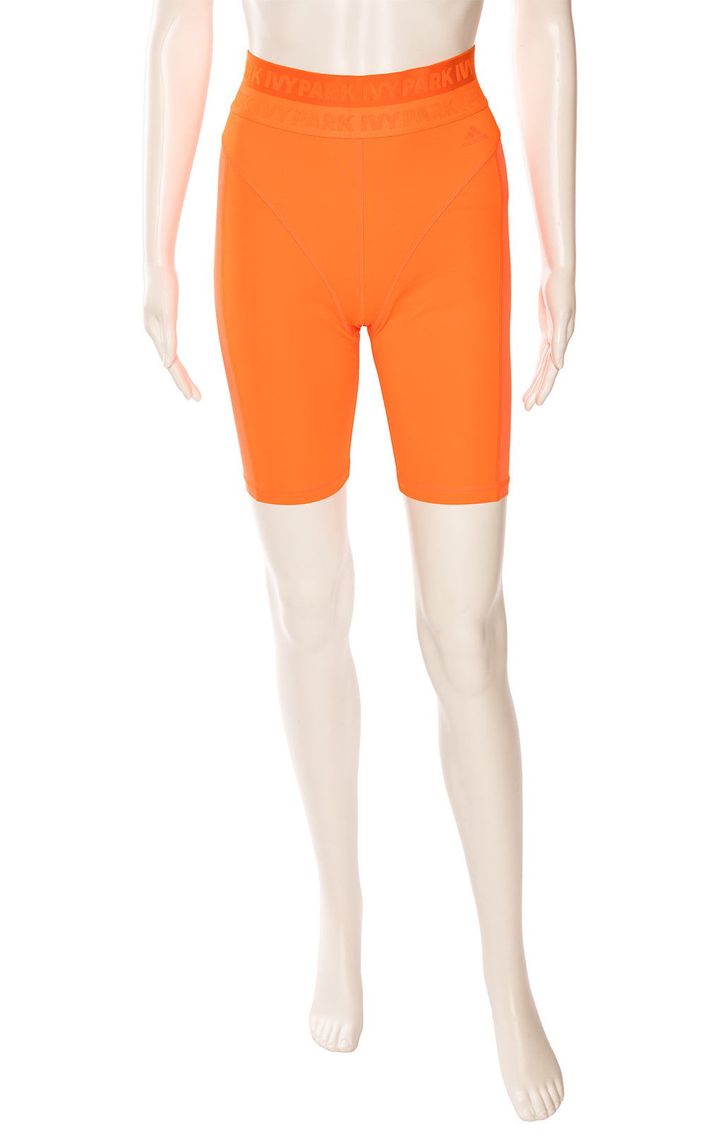 Neon orange form-fitting shorts