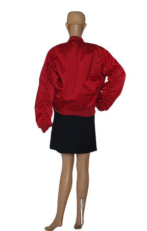 Back view of UNRAVEL Red Bomber Jacket
