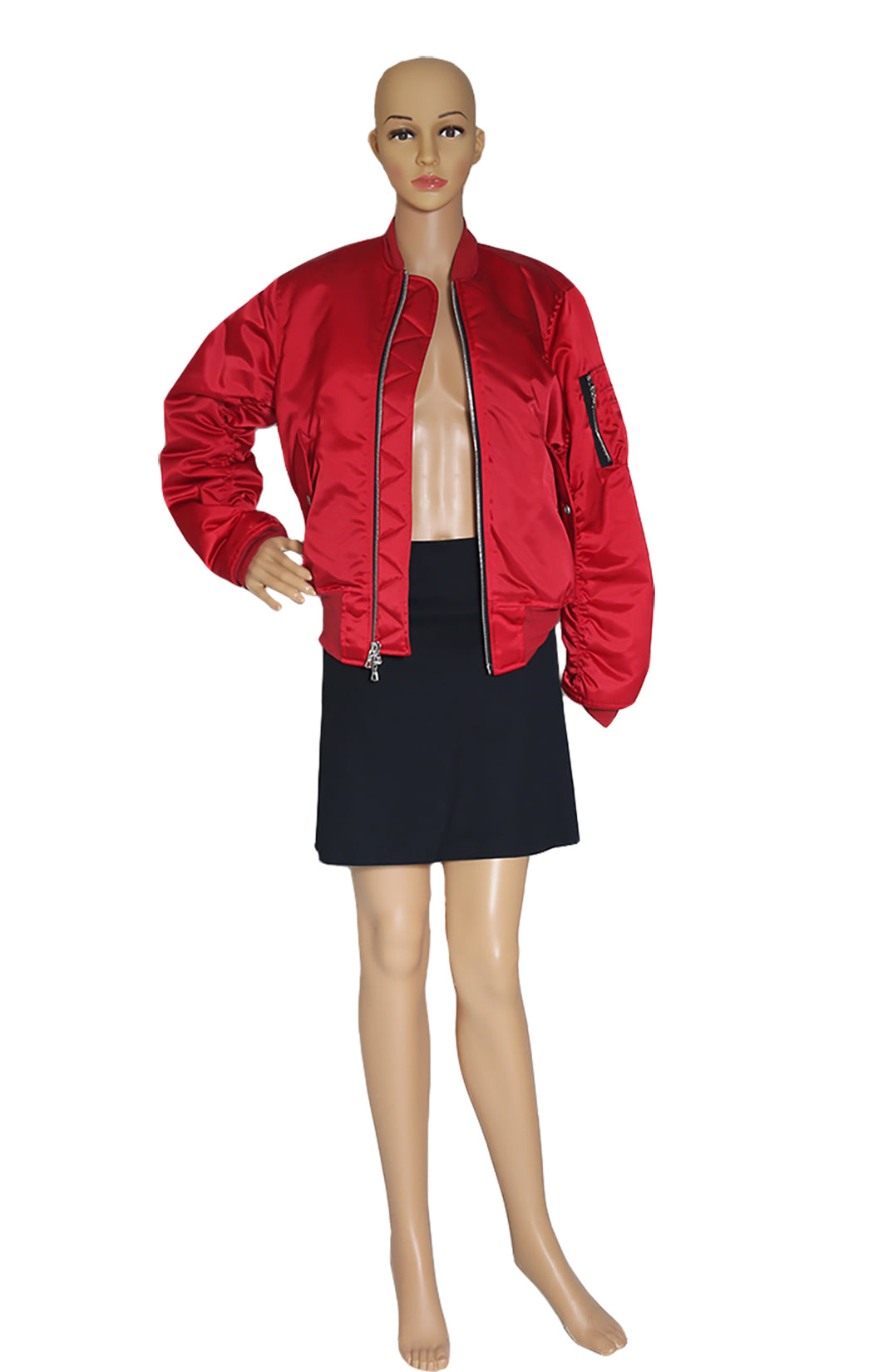 Front view of UNRAVEL Red Bomber Jacket