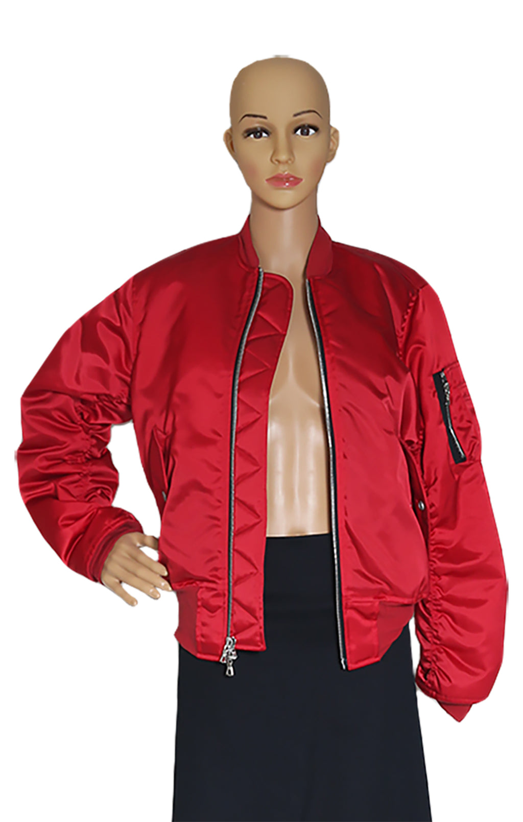 Closeup of UNRAVEL  Red Bomber Jacket Size: Medium