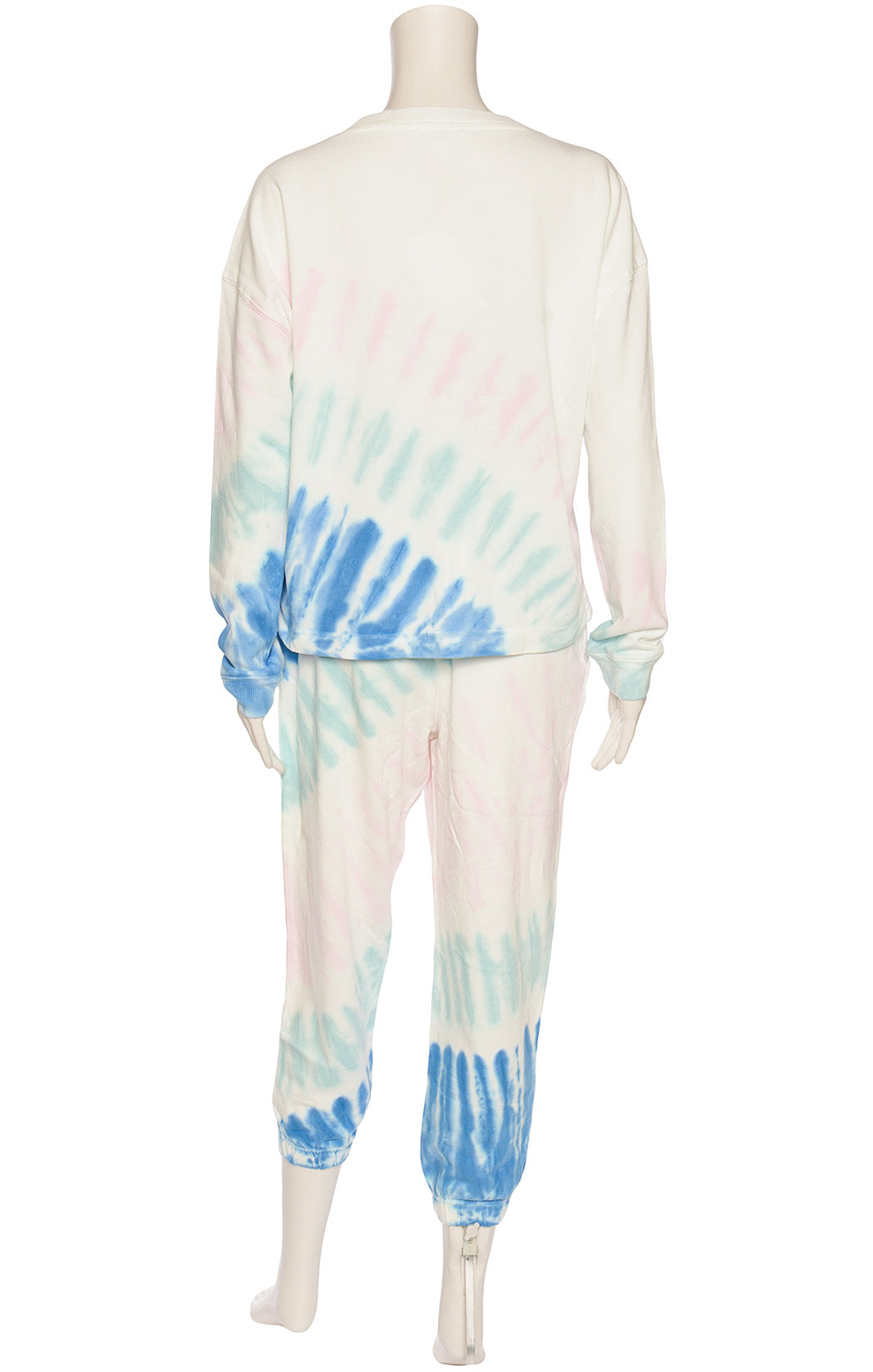 White pink green and blue tie dyed outfit
