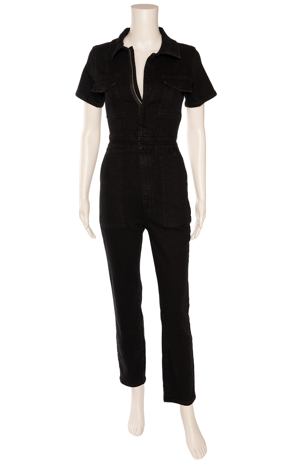 Black denim like front zipper short sleeve jumpsuit with pockets at bust and hips