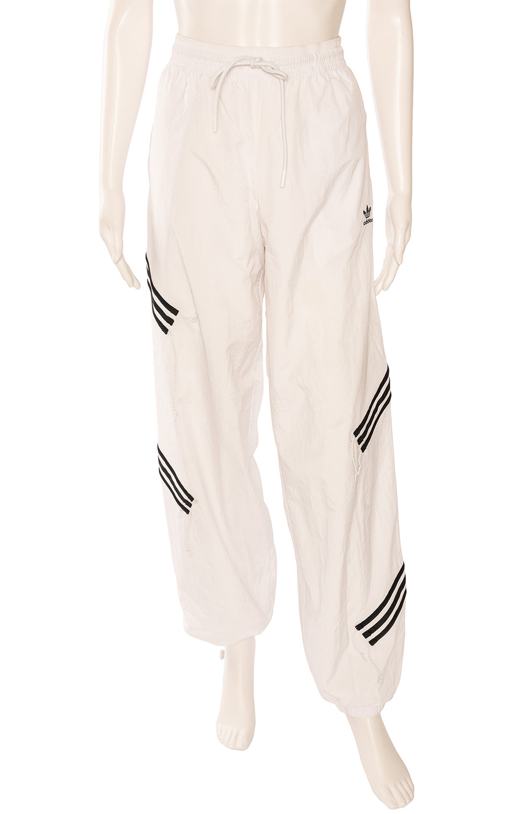 White with black stripe full Nylon like track pant