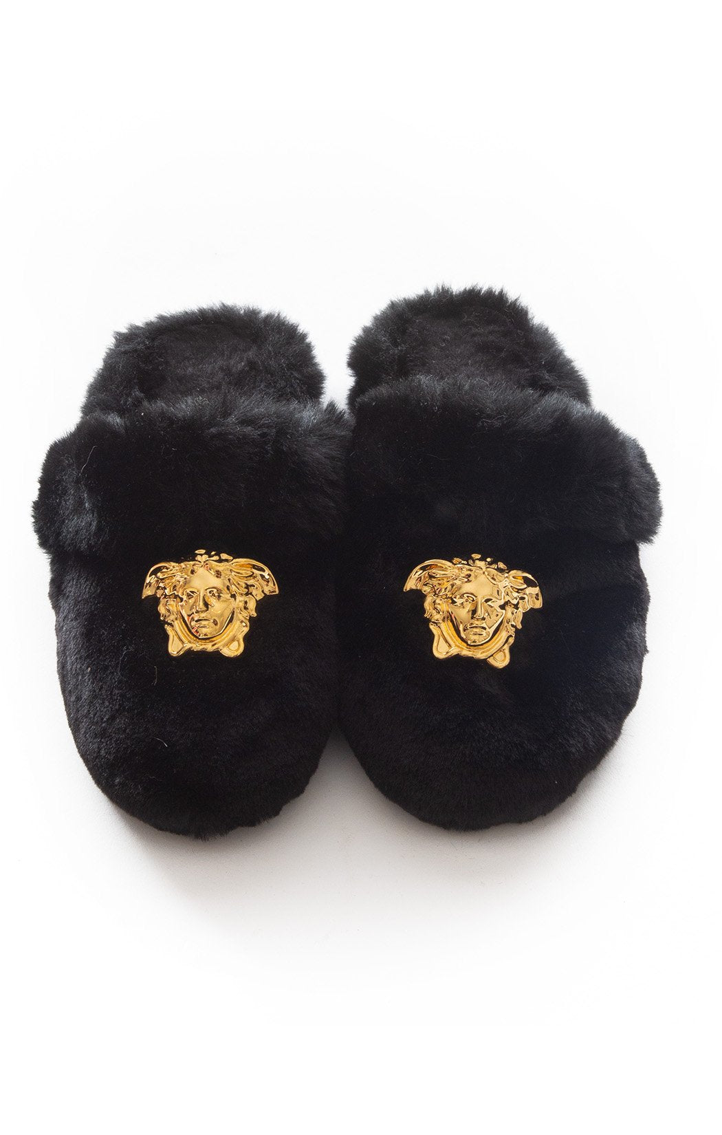 Front view of VERSACE Fur slippers Size: 8-9