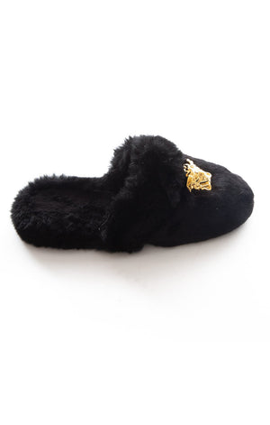 Side view of VERSACE Fur slippers