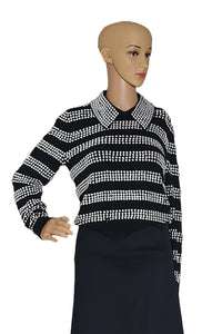 Closeup of MICHAEL KORS COLLECTION  Silver Studded Sweater Size: Small