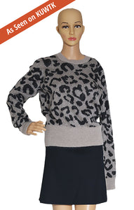 As seen on KUWTK, Closeup of MAX MARA  Leopard Print Sweater  Size: Medium